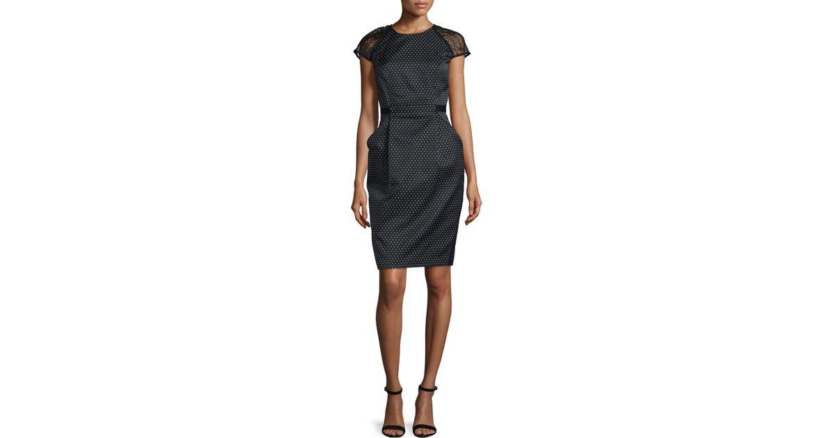 a4e29fde054e Carmen Marc Valvo Cap-sleeve Swiss-dot Sheath Dress in Black - Lyst