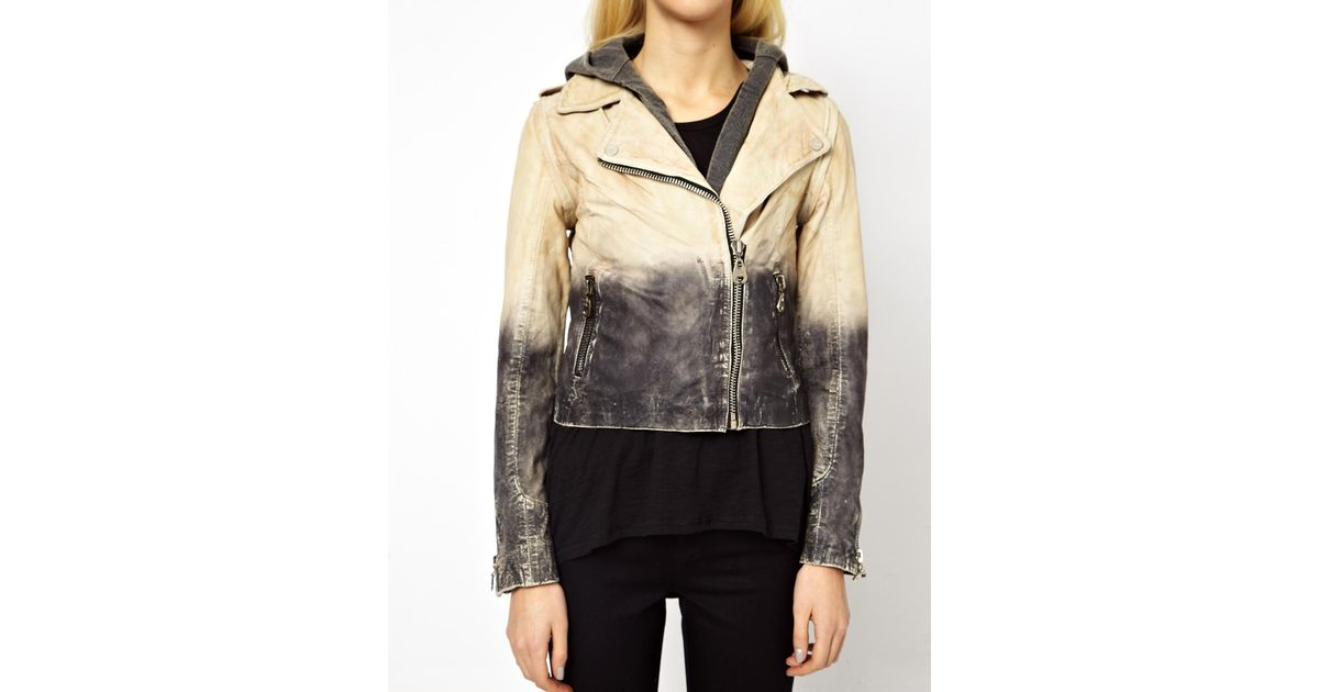 Lyst Doma Leather Arena Two Tone Leather Jacket In Natural