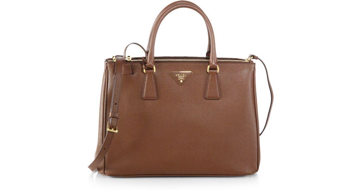 34ee9e8bfd3e Lyst - Prada Saffiano Medium Double Zip Top-Handle Bag in Brown