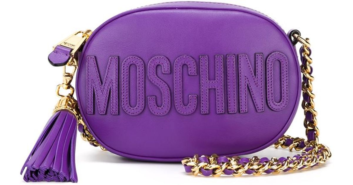 c1cee8afac Lyst - Moschino Oval Logo Crossbody Bag in Purple