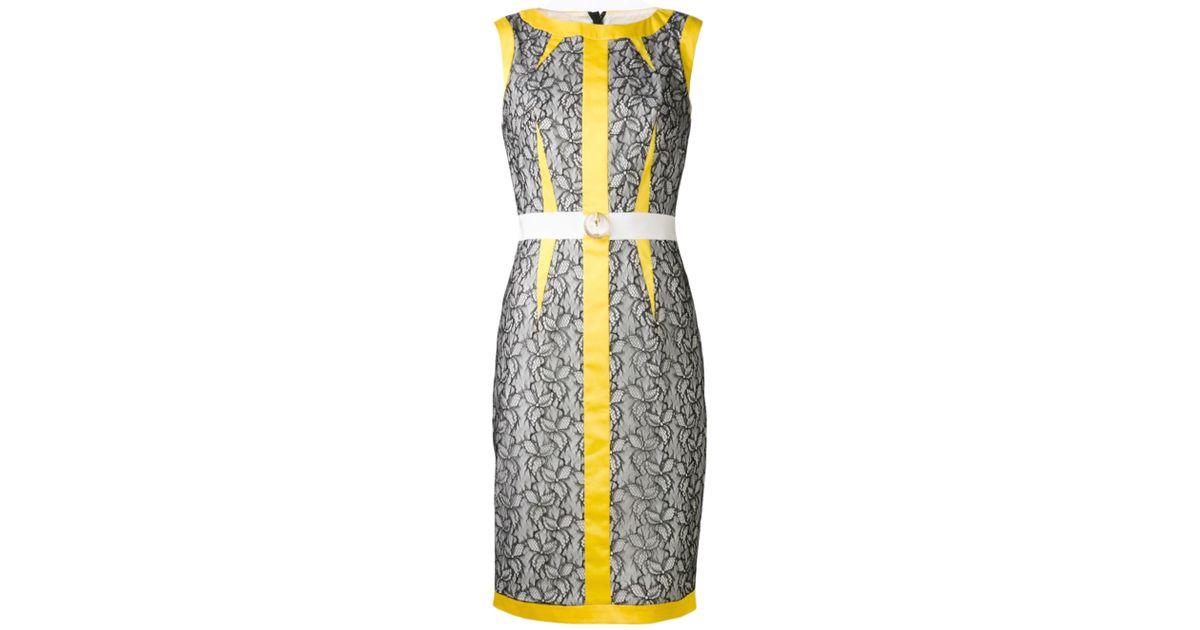 ea10e1a3aefc Class Roberto Cavalli Mixed Media Dress in Yellow - Lyst