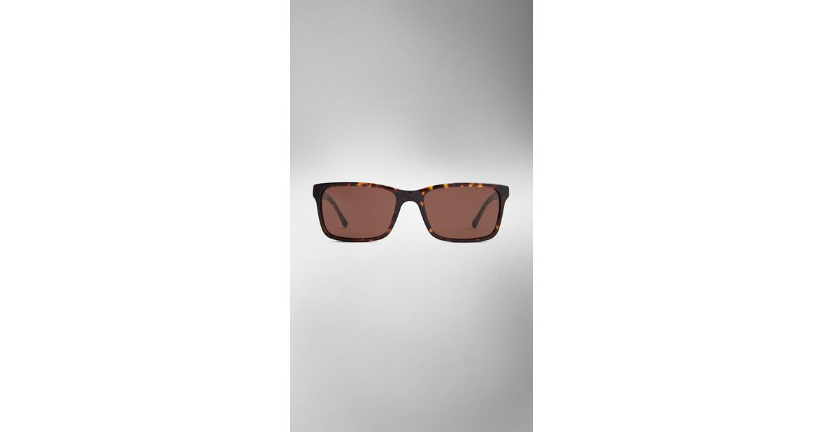 06b78eb5035 Lyst - Burberry Laser Check Detail Square Frame Sunglasses in Brown for Men