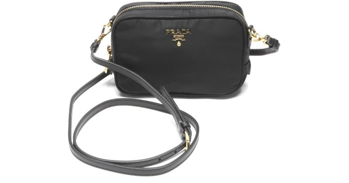 db7dc4d6e697 canada prada nylon tote bag 9415f e3969  clearance lyst prada black nylon  contenitore tracolla mini shoulder bag in black 9e83c f1bff