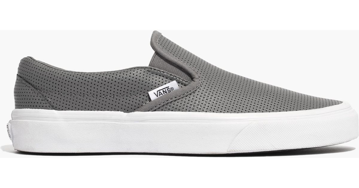 26c5a3ed522 Lyst - Madewell Vans® Classic Slip-on Sneakers In Grey Perforated Leather  in Gray