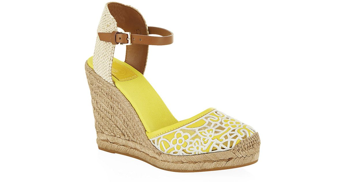 a8561fd4769b Tory Burch Lucia Lace Wedge Espadrille in Yellow - Lyst