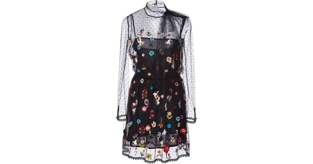5449fe646b18d RED Valentino Fancy Flower Embroidered Point D'espirit Short Dress in Black  - Lyst
