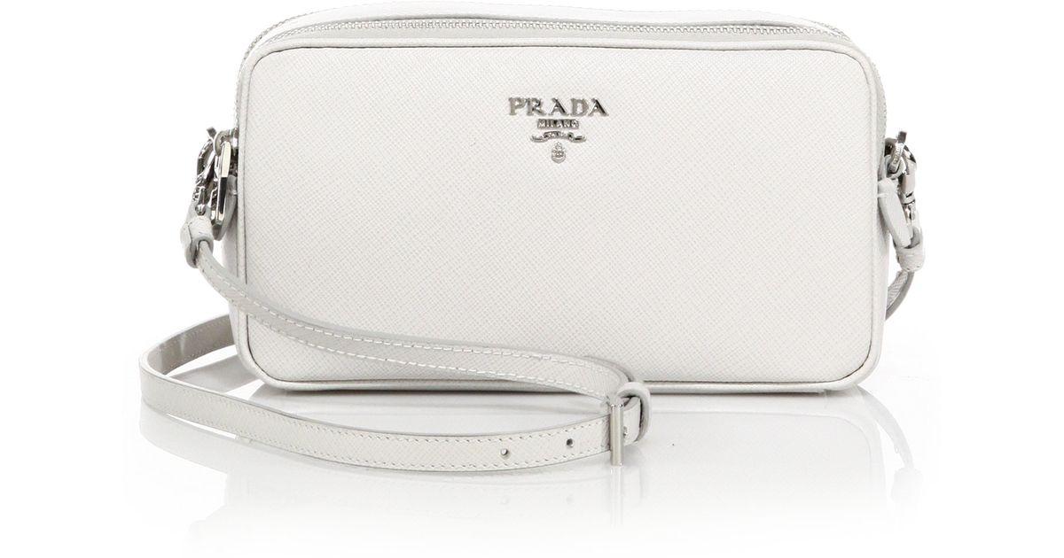 closeout prada saffiano leather camera bag in white talco lyst 46237 32737 c5cba3020f67e