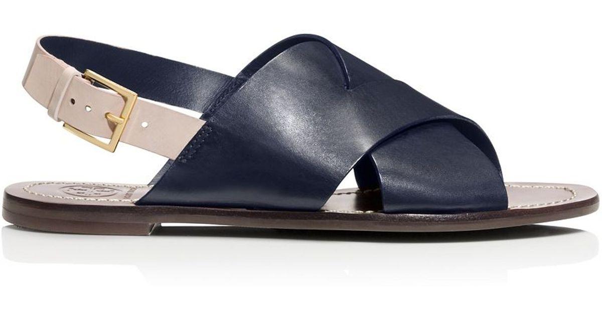 b3cc8a92c054 Lyst - Tory Burch Bleecker Slingback Flat Sandal in Blue