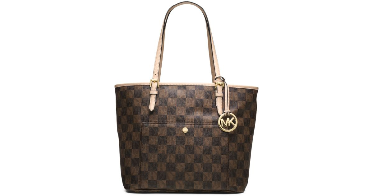 a01fbbb7ff09f4 get lyst michael kors jet set checkerboard large tote in brown 3581c 22fe9
