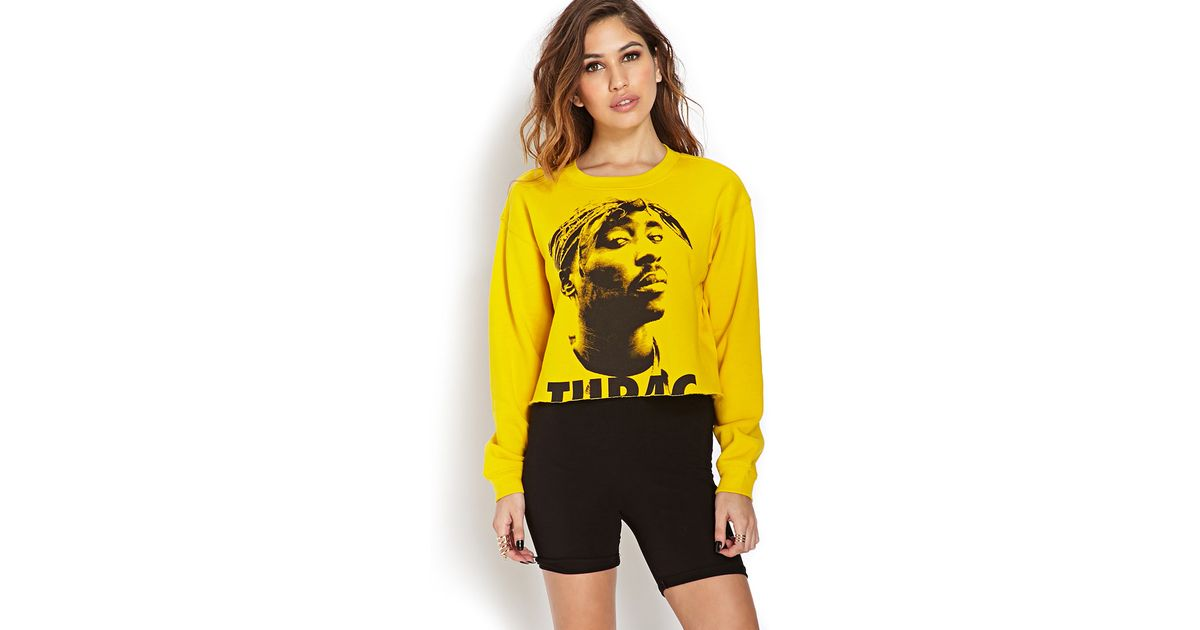 d3cfd32ce71 Forever 21 Tupac Cropped Cutoff Sweatshirt in Yellow - Lyst