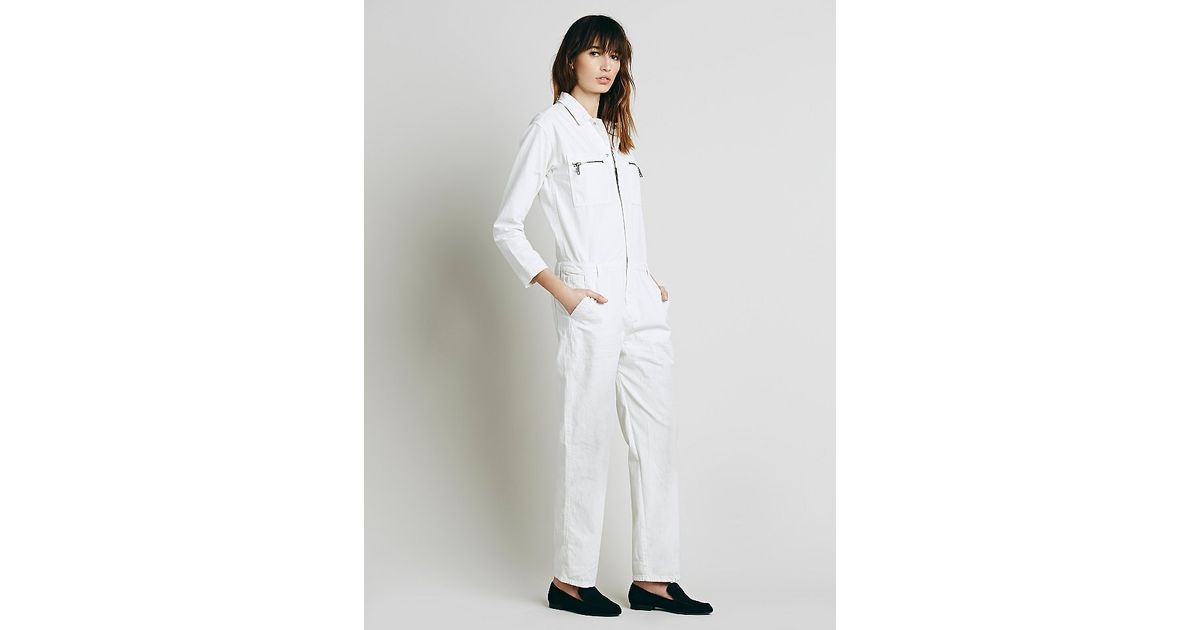 631eb8334abe Lyst - Free People Womens Lost In Time Chambray One Piece in White