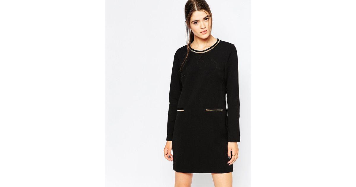 See u soon Long Sleeve Shift Dress With Metallic Trim in Black - Lyst
