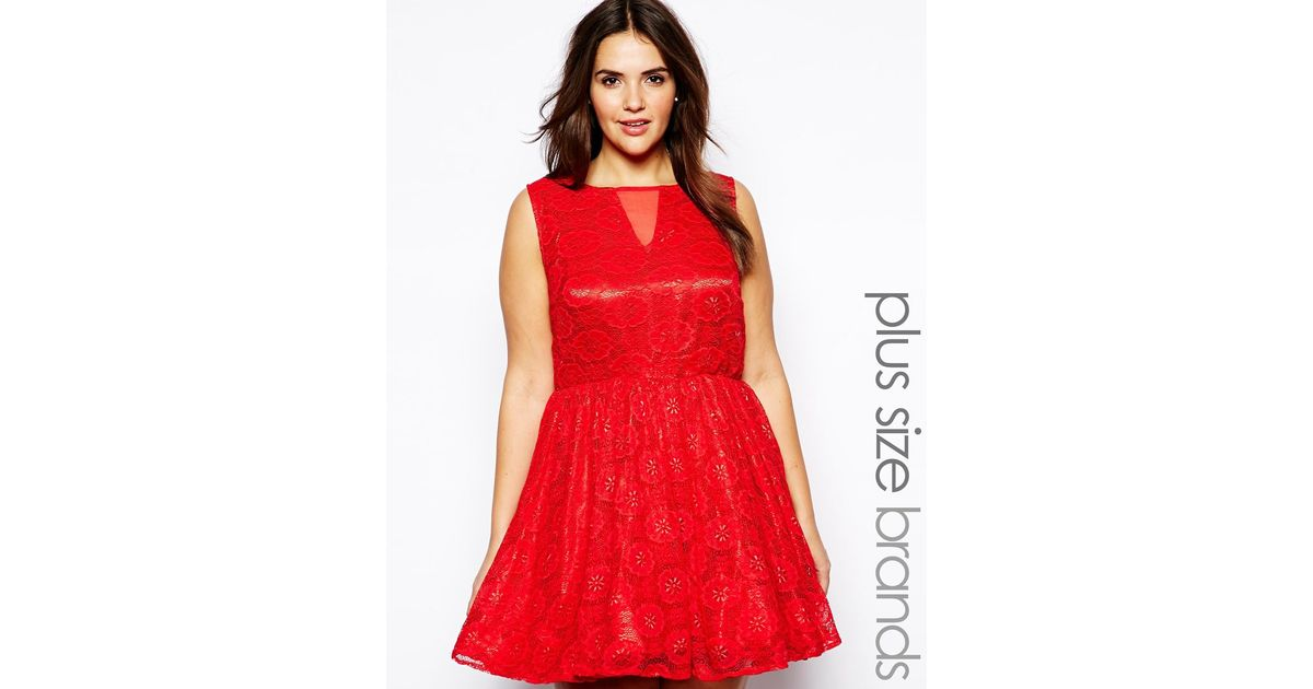 Lyst - AX Paris Plus Size Lace Mesh Skater Dress in Red