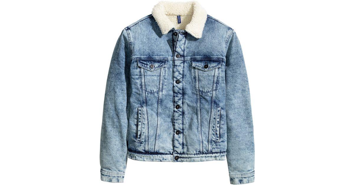 H Amp M Pile Lined Denim Jacket In Denim Blue Blue For Men