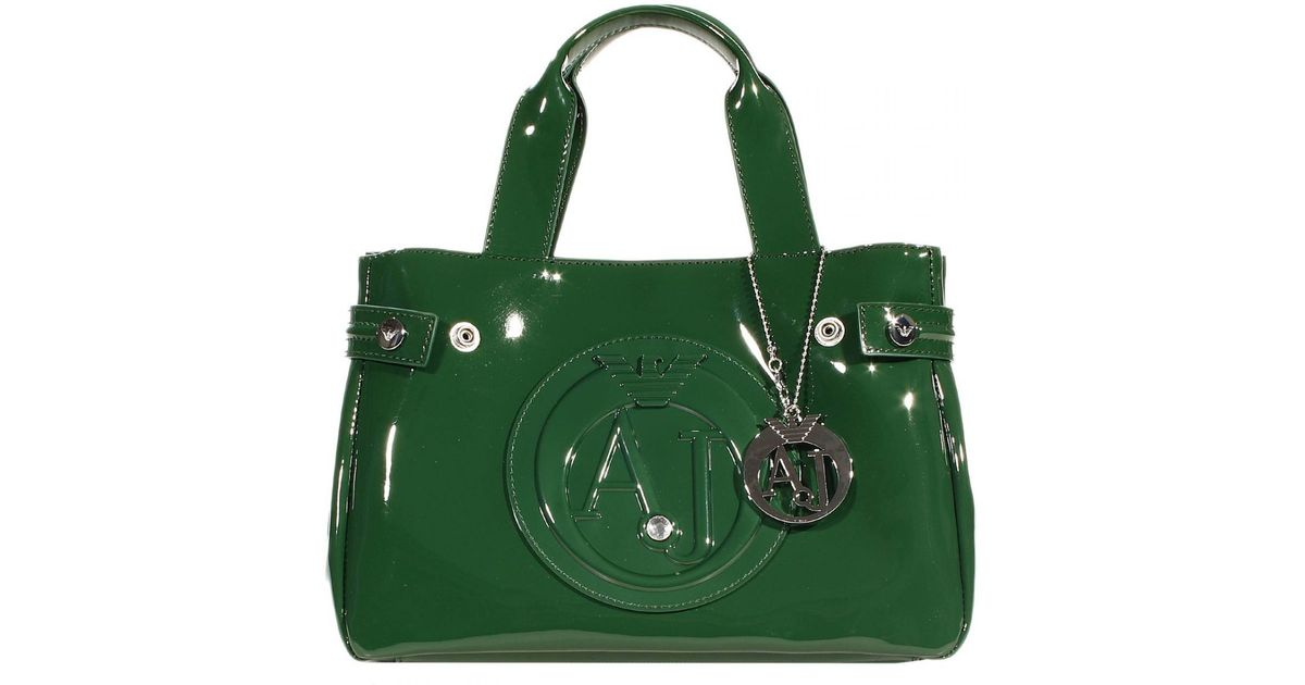 eea39402c2 Armani Jeans Handbag Patent Leather Classic Mini Shopping Bag + Rh 29X20X10  Cm in Green - Lyst