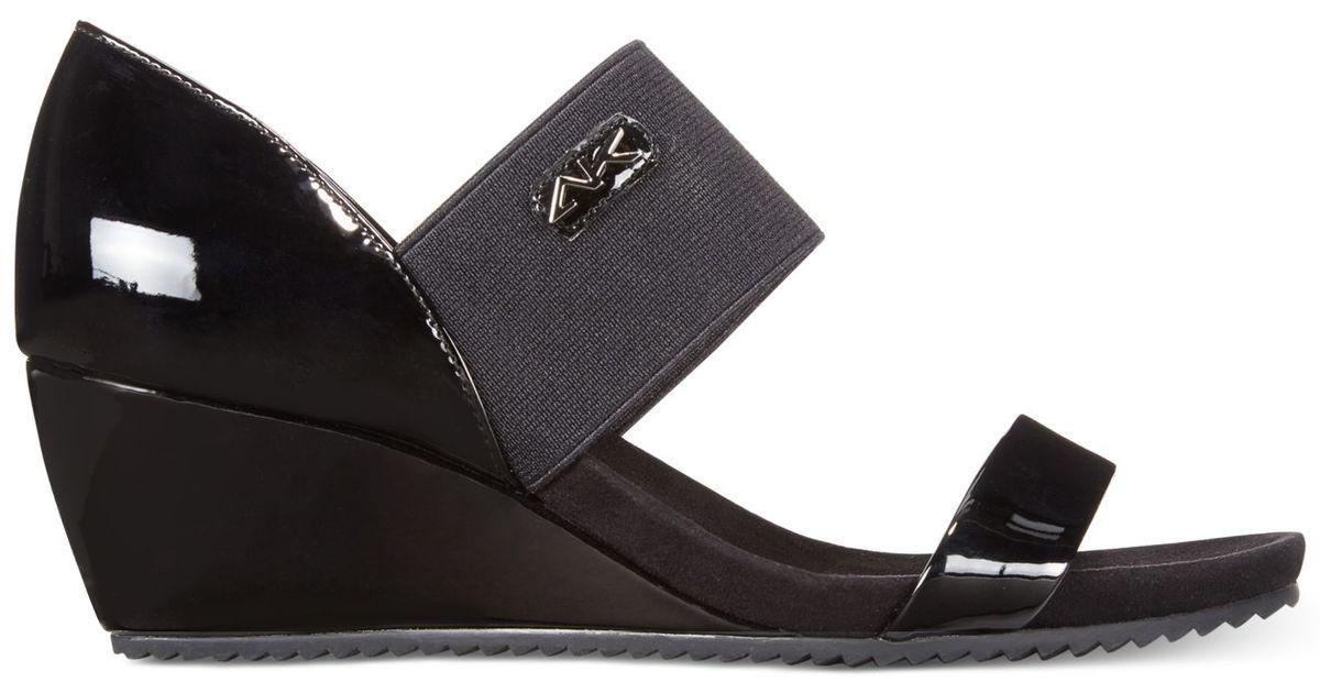 Lyst Anne Klein Cailina Wedge Sandals In Black