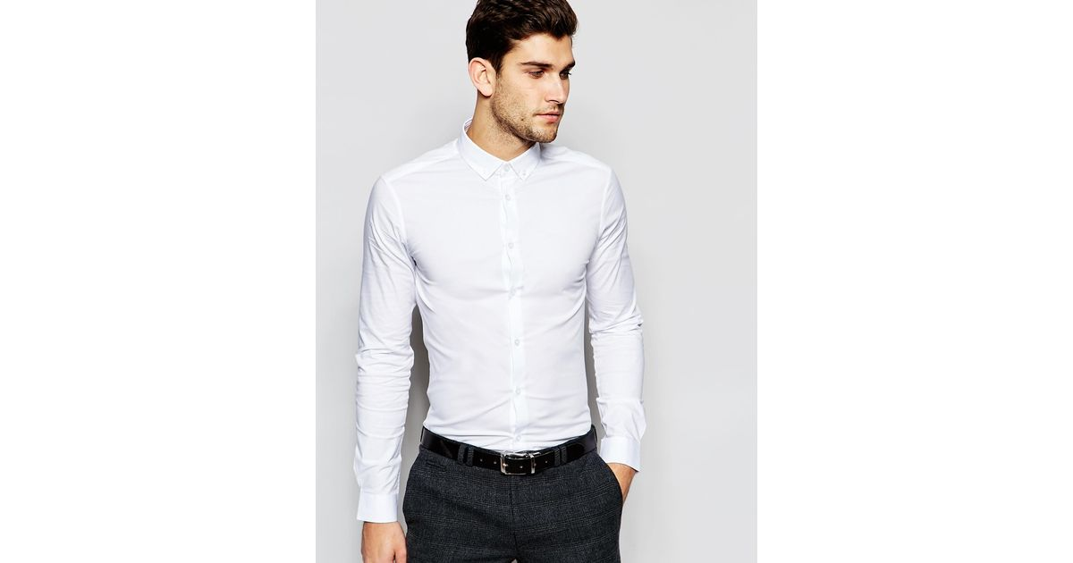 Asos skinny shirt in white with button down collar in for 3 button shirt collar