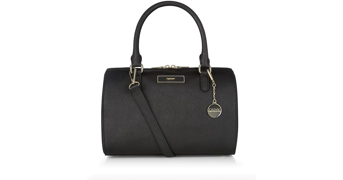 f98d1b83477b DKNY Saffiano Leather Bowling Bag in Black - Lyst
