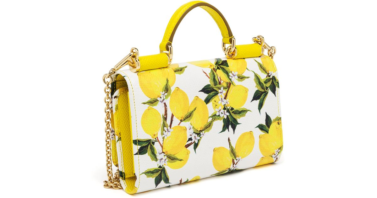 Lyst Dolce Gabbana Lemon Print Textured Leather Smartphone Chain Wallet In Yellow