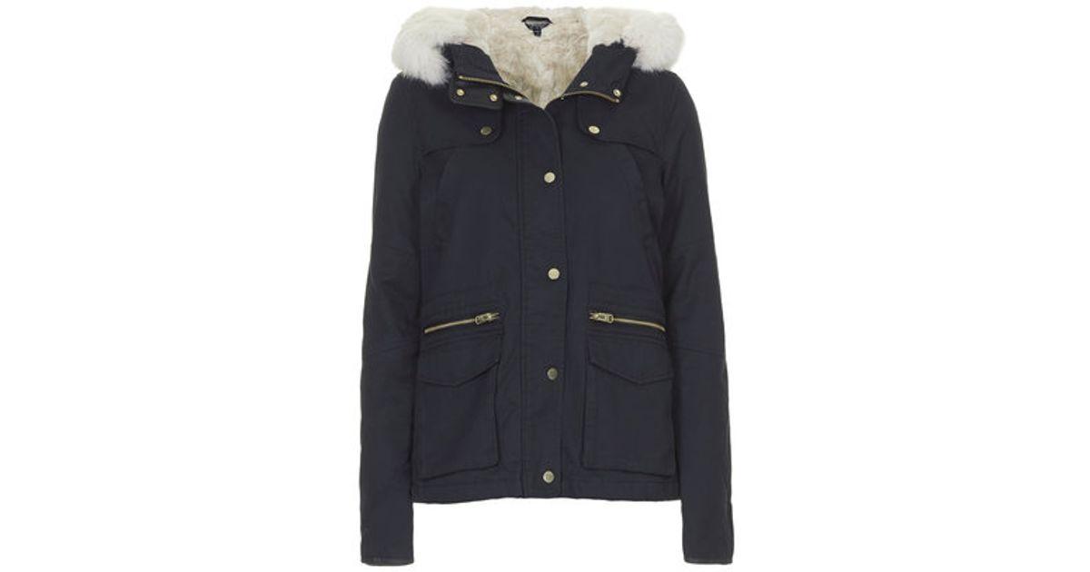 Topshop Faux Fur Lined Short Parka Jacket in Blue | Lyst
