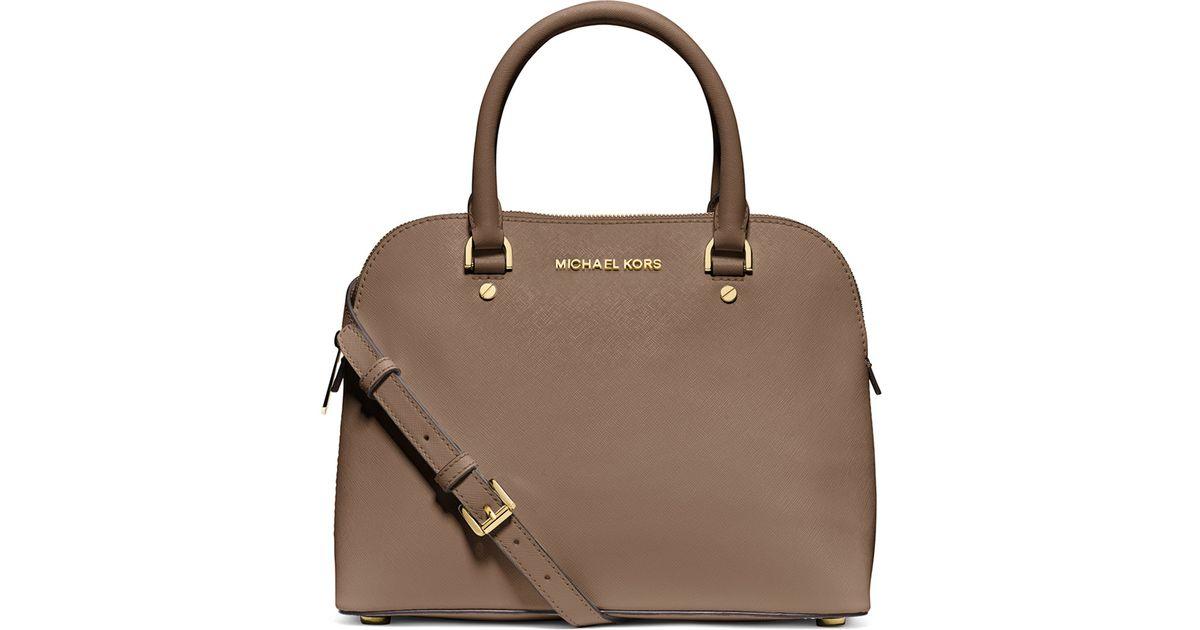 e35c6e1a1a126 Lyst - MICHAEL Michael Kors Cindy Medium Dome Satchel Bag in Brown