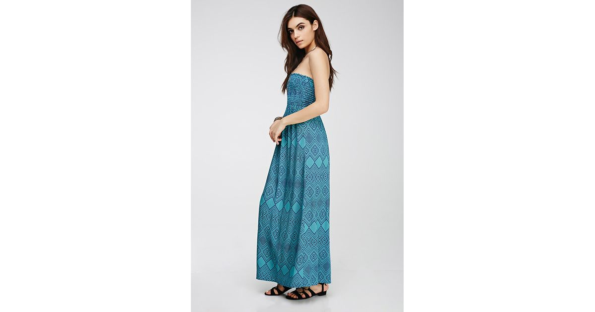 Forever 21 Strapless Tribal Print Maxi Dress in Blue  Lyst