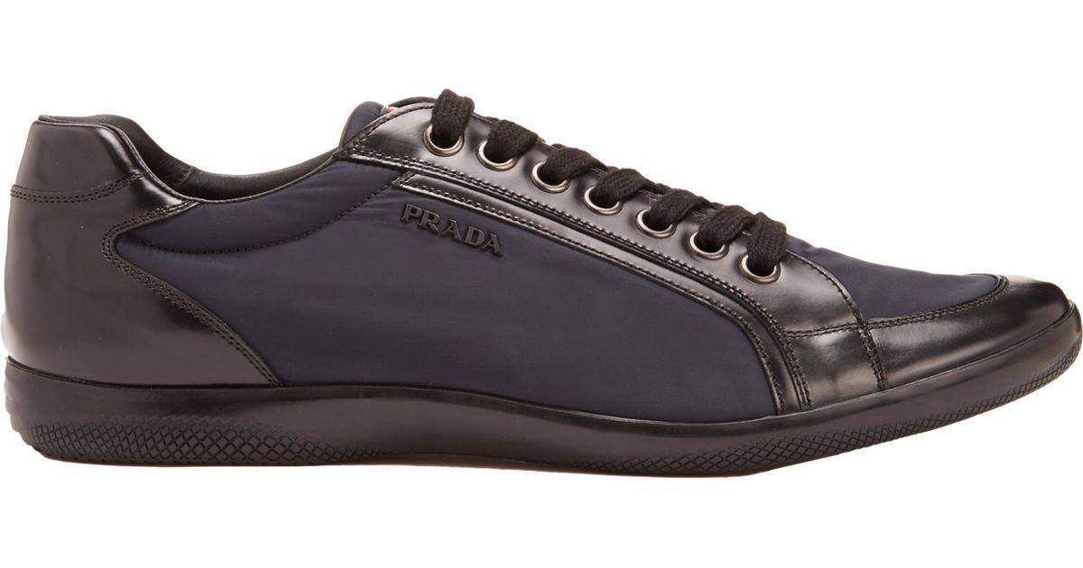 032b5743176d7e Prada Bi-color Low-top Sneakers in Blue for Men - Lyst