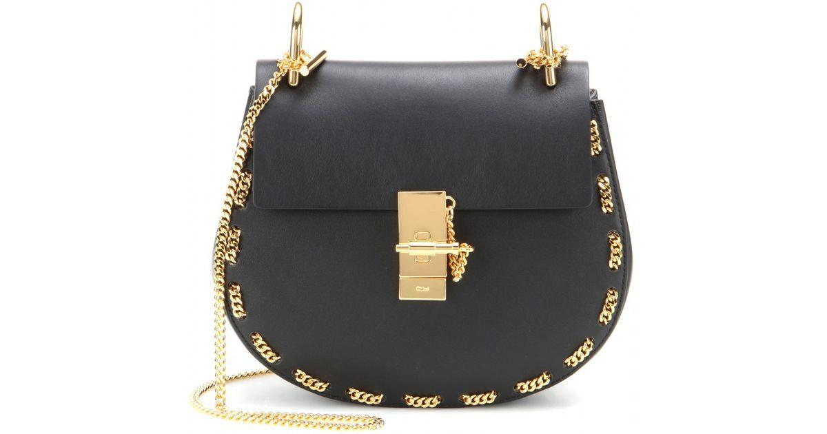 Chlo�� Drew Embellished Leather Shoulder Bag in Black | Lyst