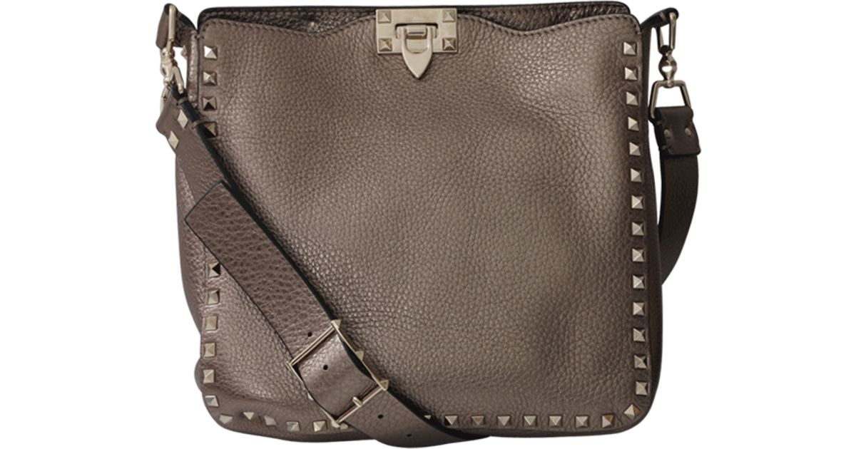 1a221b6f9d Lyst - Valentino Rockstud Small Hobo in Brown