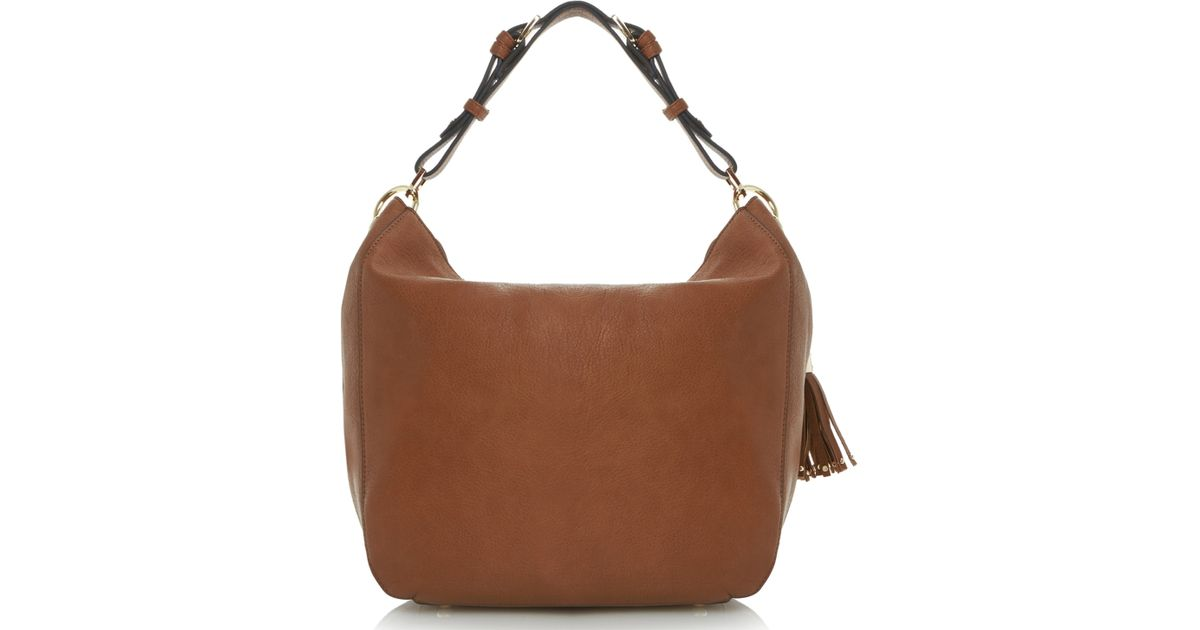 0d68eb7acf Dune Dobbly Branded Metal Toggle Slouchy Shoulder Bag in Brown - Lyst