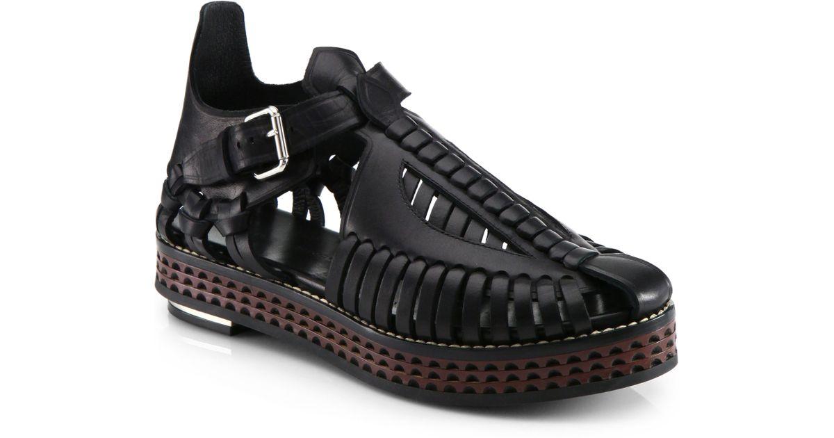 442d1114a27 Lyst - Proenza Schouler Runway Woven Leather Platform Sandals in Black
