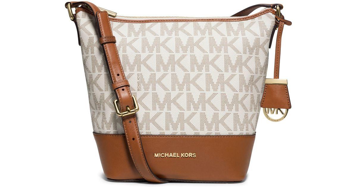 395e8c377da7 ... bag 8759c 5661d; uk lyst michael kors bedford medium logo messenger in  brown a3f52 d3a3a