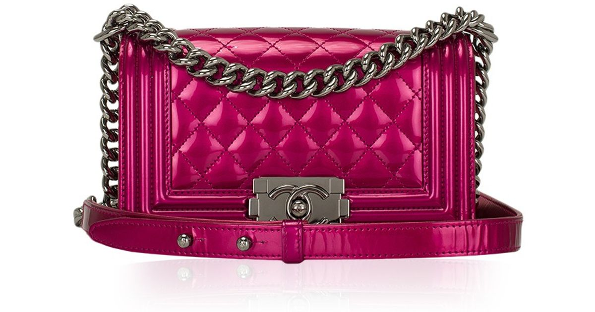 d81a4e836fa5 Madison Avenue Couture Chanel Fuchsia Pink Metallic Patent Small Boy Bag in  Pink - Lyst