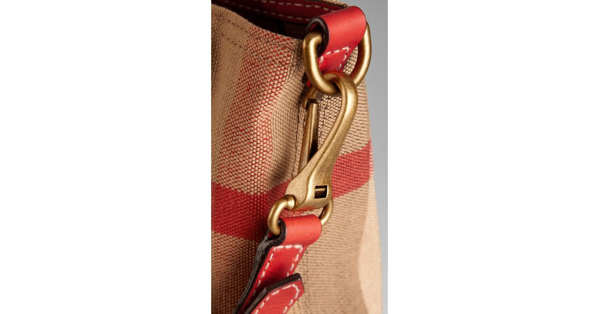 Source · Lyst Burberry Medium Canvas Check Tote Bag in Brown 82823b5673