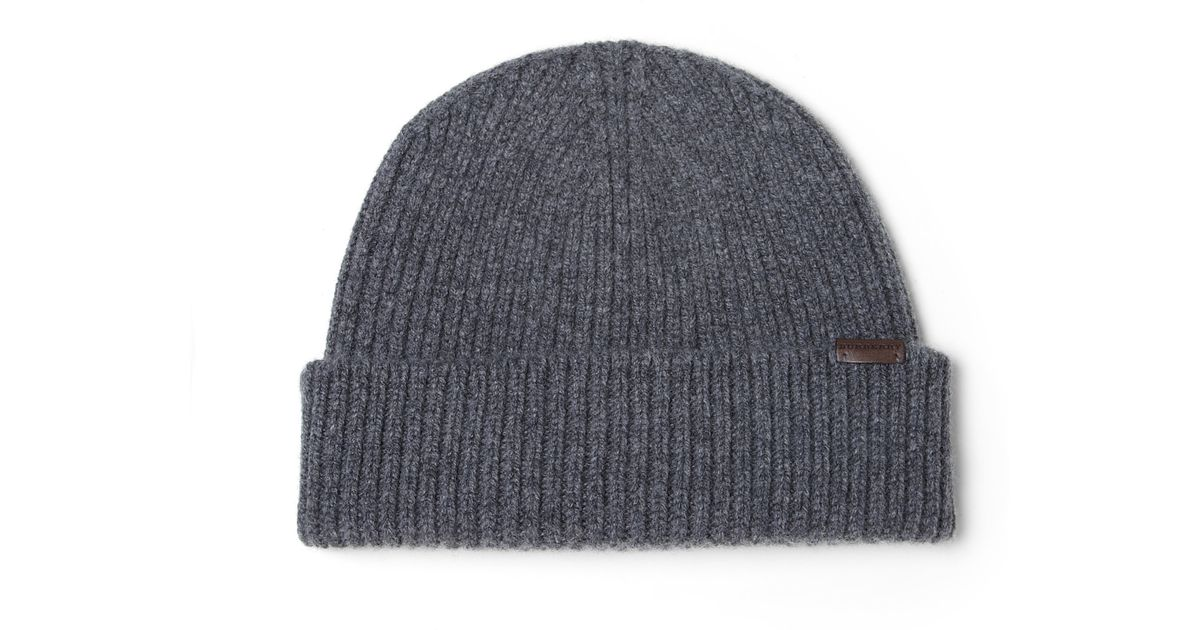 5ca306f0fa3 Lyst - Burberry Wool   Cashmere Beanie Hat in Gray for Men