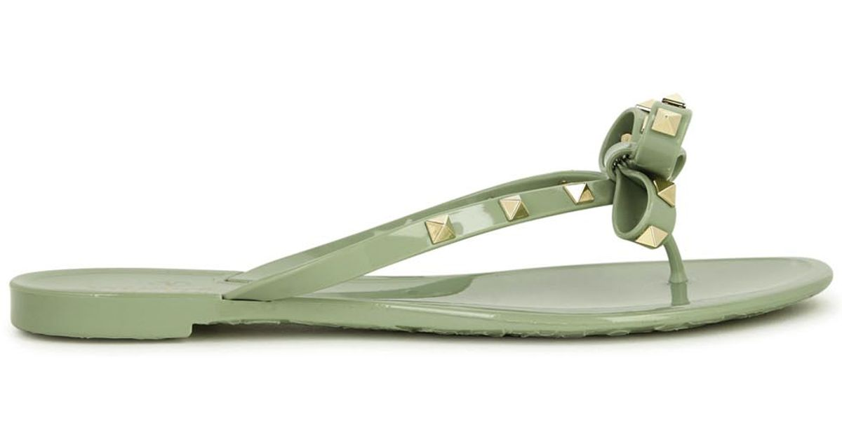 valentino rockstud mint flip flops in green mint lyst. Black Bedroom Furniture Sets. Home Design Ideas