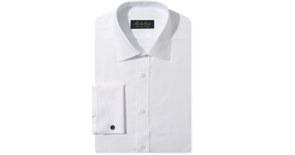 Michelsons of london slim fit chevron textured french cuff White french cuff shirt slim fit