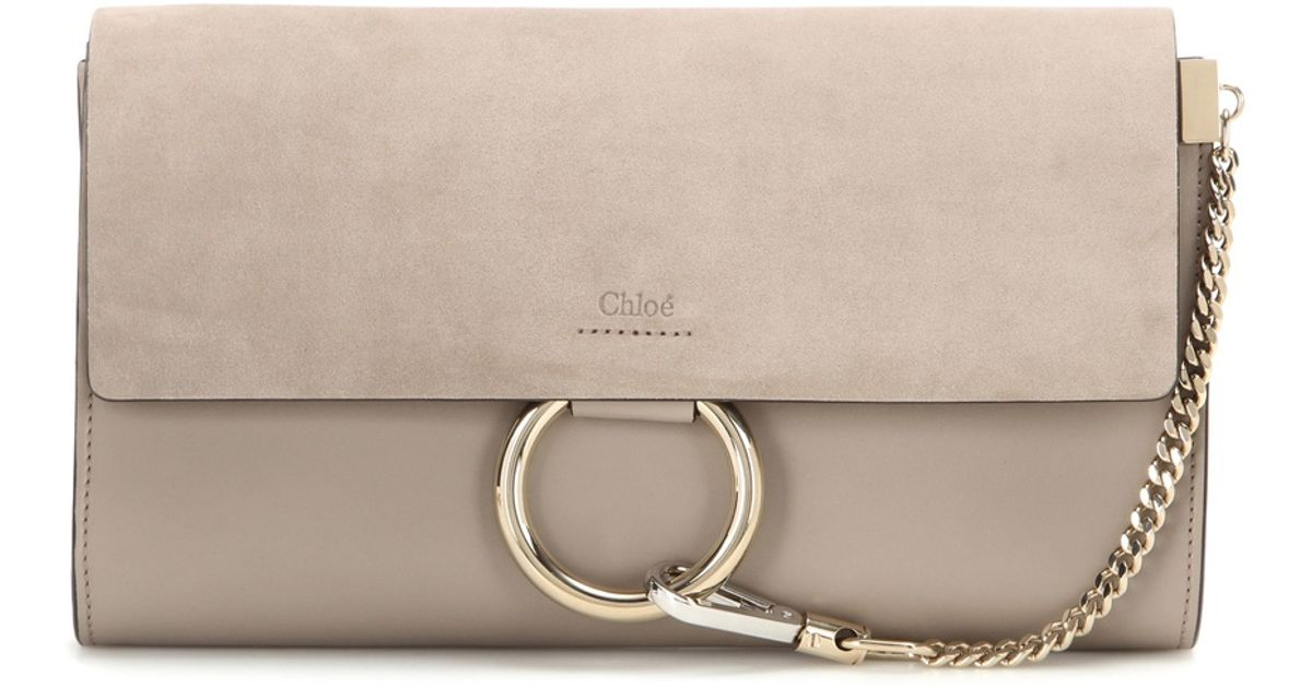 designer handbags chloe - Chlo�� Faye Suede And Leather Clutch in Beige (grey) | Lyst