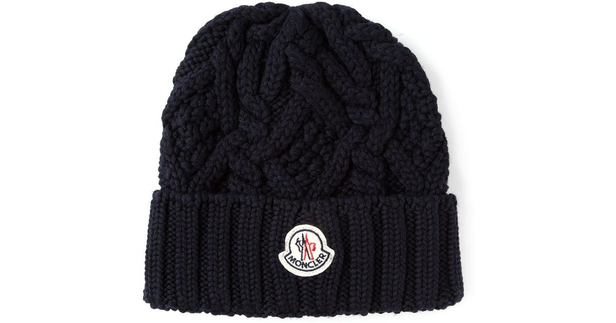 f5e869c6ce5 Lyst - Moncler Cable Knit Beanie Hat in Blue for Men