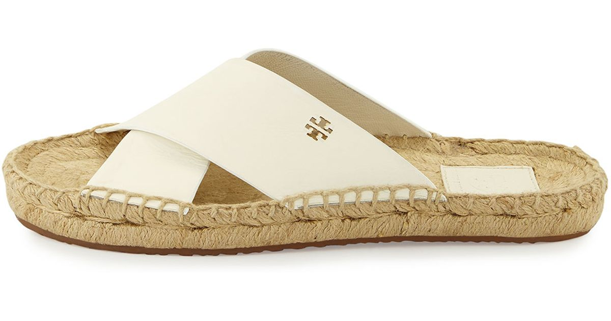 c13bc5d94 Tory Burch Bima Leather Flat Espadrille Slide Sandal in White - Lyst
