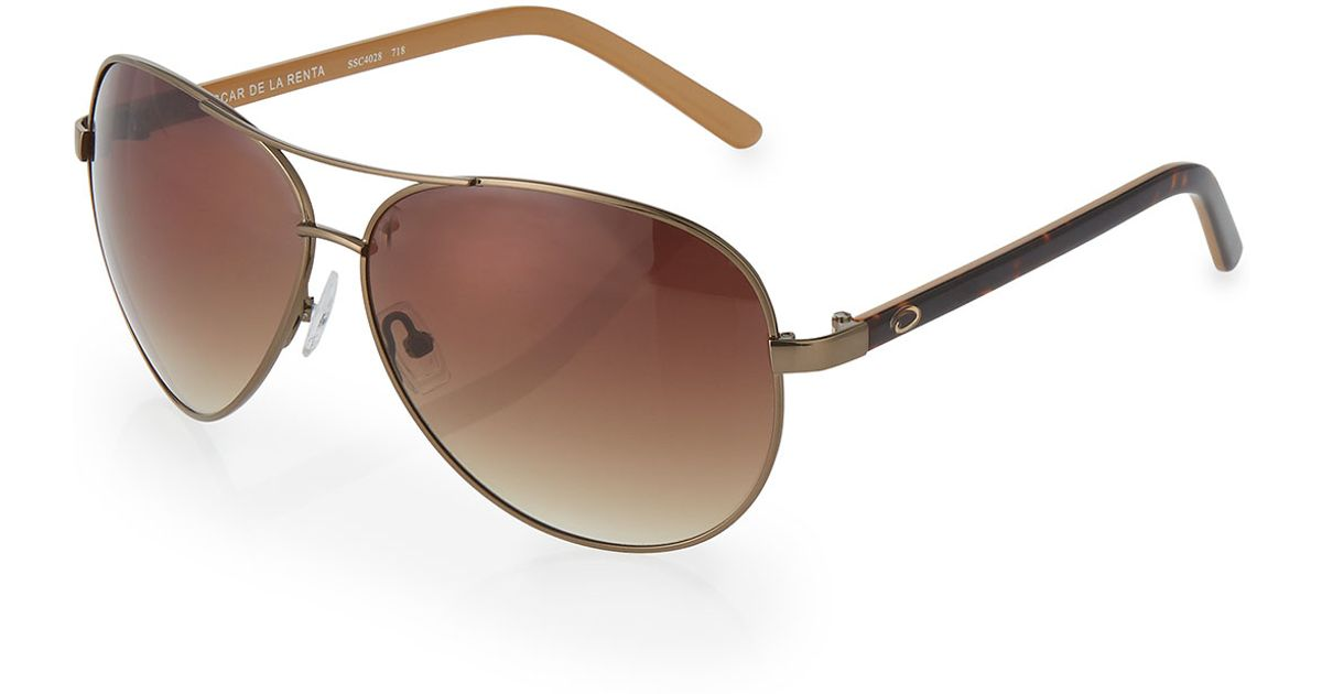 48a1b7759f Lyst - O By Oscar De La Renta Large Metal Aviator Sunglasses in Brown