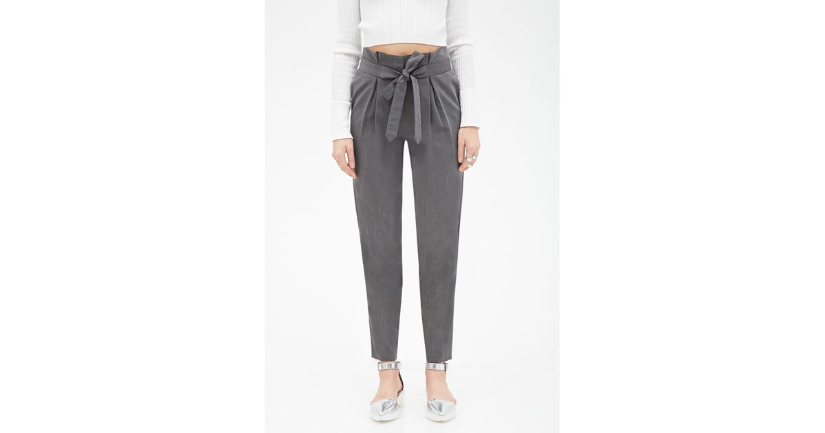dd6312c5685a Forever 21 Paper Bag Trousers in Gray - Lyst