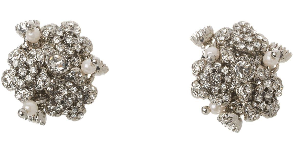 Lyst Betsey Johnson Pretty Pearl Punk Flower Cer Stud Earrings In Metallic