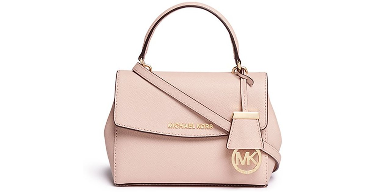 9e7d2298b35d Lyst - Michael Kors  ava  Petite Saffiano Leather Crossbody Bag in Pink