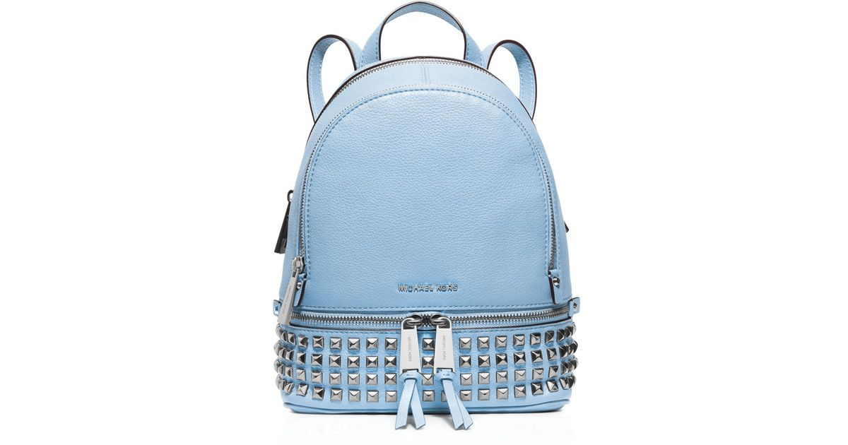 ... norway lyst michael michael kors extra small rhea zip studded backpack  in blue 64c2b b123c 6c76531e7a