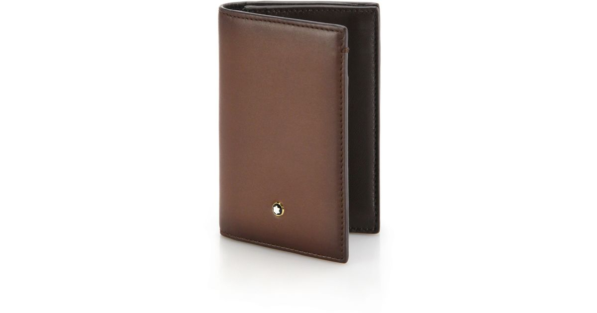 Montblanc Italian Leather Business Card Holder in Brown