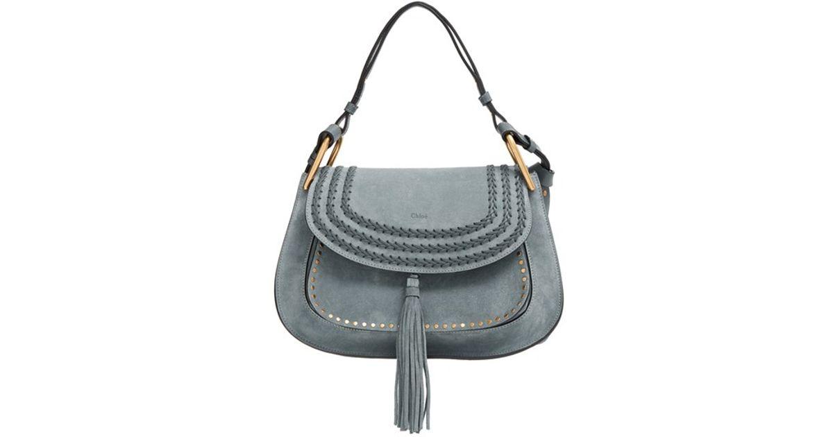75c999b004f1 Lyst - Chloé  hudson  Studded Suede Shoulder Bag in Blue