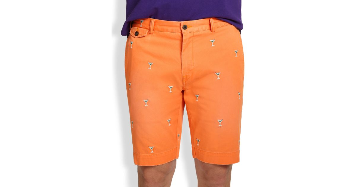 Lyst - Polo Ralph Lauren Greenwich Classic-Fit Embroidered Chino Shorts in  Orange for Men