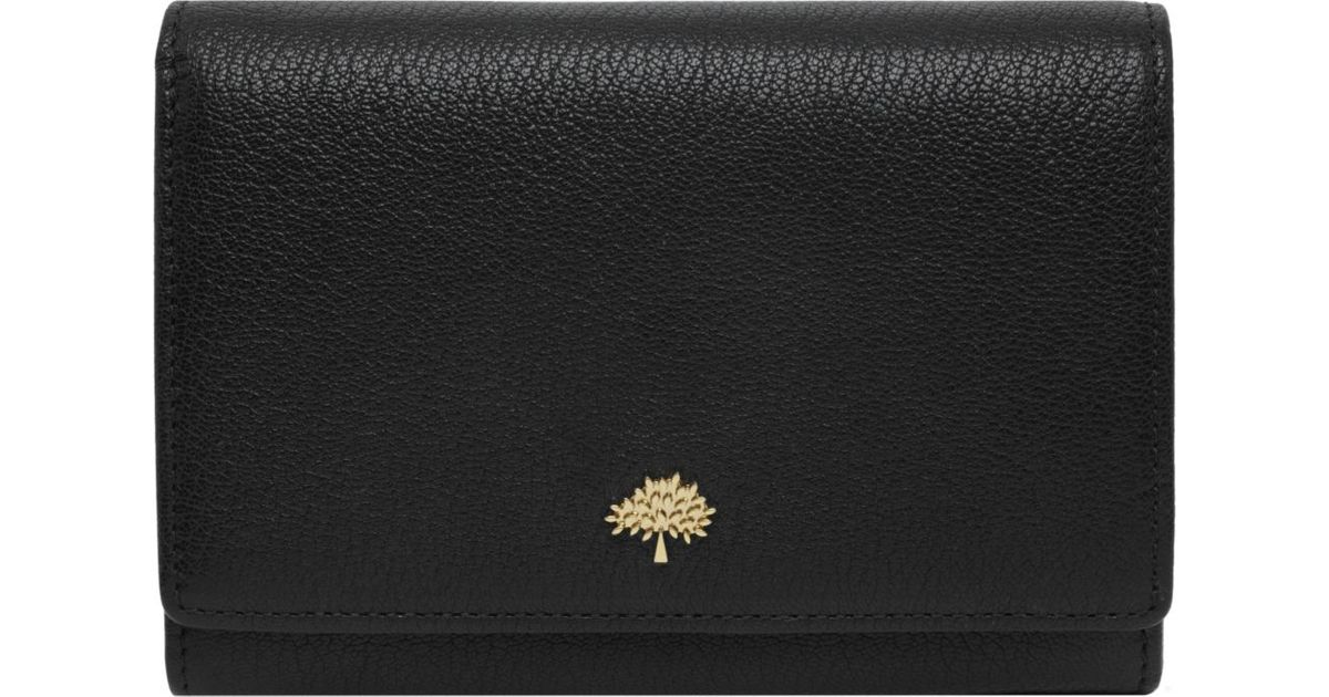 3b72402fbedd Mulberry Tree Glossy Goat Leather French Purse in Black - Lyst