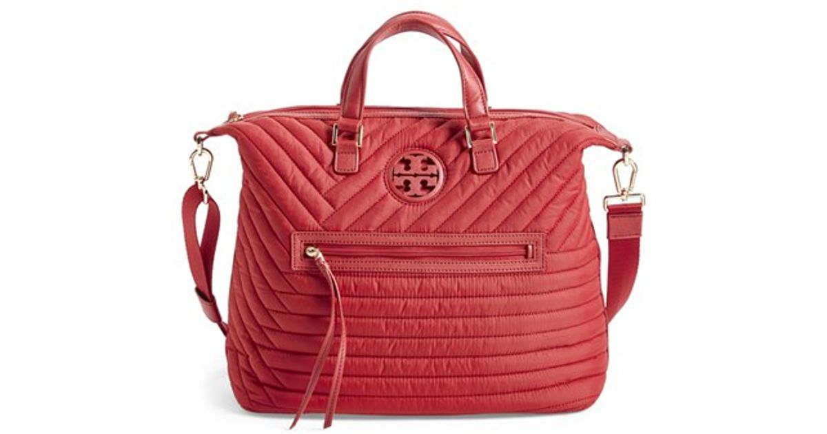 3c5e0e5a011 Lyst - Tory Burch  slouchy  Quilted Nylon Satchel in Red